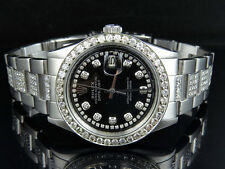 Mens Excellent Rolex Datejust Oyster Stainless Steel Diamond Watch with 10 Ct