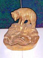 "VINTAGE GRIZZLY BEAR & FISH ASHTRAY (5 1/2"" TALL 6"" WIDE)"