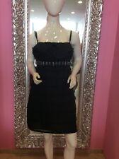 Dolce & Gabbana señora vestido de seda volantes bordado rodilla Lang negro it 44 de 38