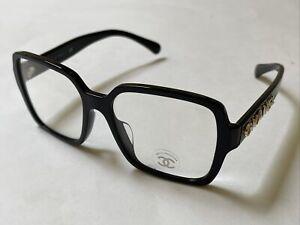New CHANEL Sunglasses Square CH5408A C622/1W Black Eyewear Clear UV Lens Italy