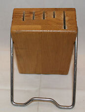 Cutco Space Saver Wooden Kitchen Knife Block 5 slot Metal Stand Holder USA Brown