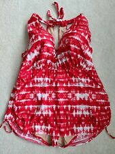 Swim By Cacique Woman's One Piece Swimsuit Size 44DD Red White Tie-dye Underwire