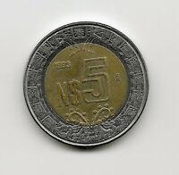World Coins - Mexico 5 Pesos 1993 Bimetallic Coin KM# 552 ; Lot-M2