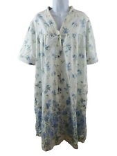 Simply Basic Womens 2X White Blue Floral Nightgown Sleepwear Housecoat
