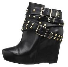 Women's  BCBG BCBGeneration ASPEN Wedge Ankle Booties Studs Leather Black  US 6