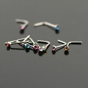 10 X TITANIUM STEEL NOSE STUD SCREW RINGS RHINESTONE CRYSTAL GEM PIERCING BARS*