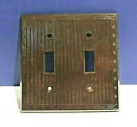 Vintage Brown 2-Gang Bakelite Light Switch Wall Plate Toggle Harvey 91072 NEW