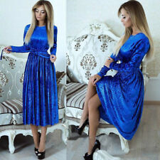 Women Winter Maxi Gown Dress Casual Long Sleeve Velvet Evening Party Dinner Prom