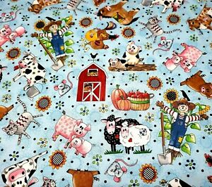 """22"""" Patchwork Farms Desiree's Designs Quilting Treasures Barn Cow Sheep Blue"""