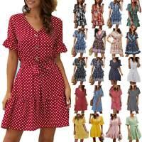 Womens Ruffles Short Sleeve V Neck Floral Tea Dress Casual Mini Swing Sundress
