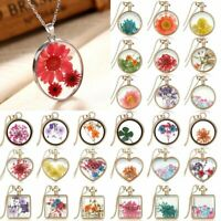 Natural Dried Flower Resin Glass Floating Locket Pendant Necklace Sweater Chain