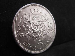 1932 LATVIA 5 Lati Silver Coin--Unc Condition!!
