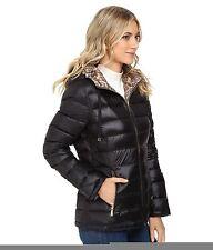 Calvin Klein Womens Reversible Short Hooded Packable Down- Size Large Black