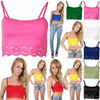 Womens Cami Bralet Lace Trim Blouse Sleeveless Ladies Tee Vest Crop T Shirt Top