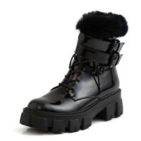 Womens Fashion Punk Round Toe Lace Up Fur Trim Patent leather Shoes Ankle Boots