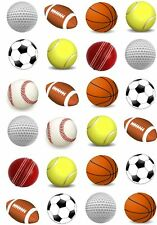 24 Sports Ball Football Cricket Cupcake Cake Toppers Edible Rice Wafer Paper