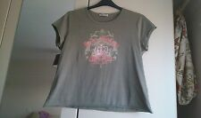 Womens size 20 (more like 16/18) tshirt in khaki, pink/diamonte front