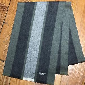 COACH Scarf Mens gray Herringbone Striped Lambs Wool Cashmere Fringe c
