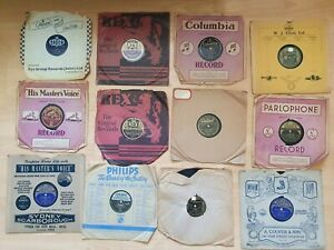 """Selection 12 x 78 rpm GRAMOPHONE RECORDS 10"""" inc Bing Andrews Gracie. Christmas"""