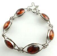 S0069 Tolles Armband aus 835 er Silber mit Bernstein Amber Länge ca 18,4 cm