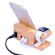 Station De Recharge Dock Pour Iphone Apple Watch Support En Bois Port Usb 3A