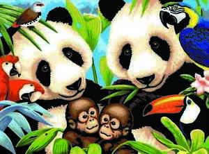 PJL8 - Malen nach Zahlen Junior für Kinder, Bedrohte Tierarten Panda Affe Vögel