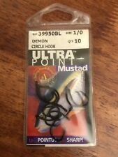 NEW! MUSTAD Ultra Point size 1 DEMON CIRCLE HOOK (Quanity 10 hooks)