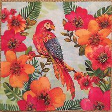 2 single paper Napkin Serviette Decoupage Collection Bird on tree Parrot Flowers
