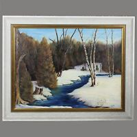 Vintage oil on canvas board Painting signed art work Winter Landscape
