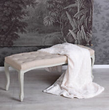 Seating Bench Laying Sitting Stool Beige Padded Ottoman House Wooden