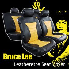 Yellow Black Bruce Lee Style Leatherette Seat Cover 40/60 50/50 Split Rear
