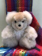 """Tan Cream Alpaca Fur Teddy Bear from Peru 8"""" Plush Soft """"FREE GIFT*"""