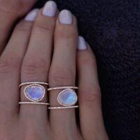 1pc Antique 14K Rose Gold/Silver Irregular Natural Moonstone Ring 6-10 sz Hot
