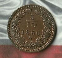 1860A Austria 5/10 Kreuzer- Short lived denomination- Great Shape~