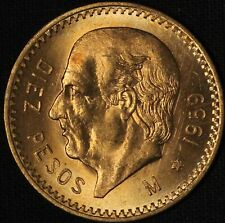 1959 Mexico Diez (10) Pesos Gold - Free Shipping USA