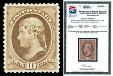 Scott 209 1882 10c Jefferson Re-Engraved Issue Mint F-VF OG HR Cat $160 PSE CERT