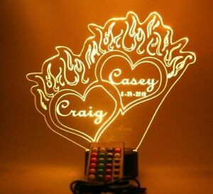 Heart Flames Love On Fire Night Light Up Table Lamp LED Personalized With Remote