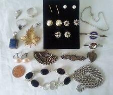 Job Lot Antique Vintage Silver rings brooches earrings bracelet chain locket...