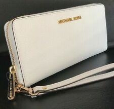84ad91cfd1e45f Michael Kors Jet Set Travel CONTINENTAL Leather Wallet Wristlet Optic White