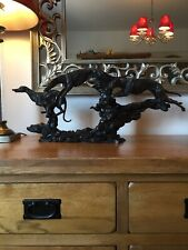 More details for over the rocks - lurcher - ornament / sculpture / figurine - bronze hunting dogs