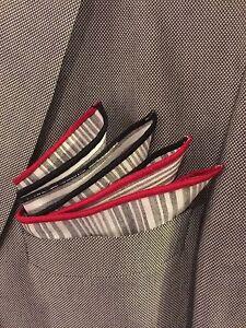 Pocket Square Italian Linen Stripped Black & Red Borders By squaretrapny.com