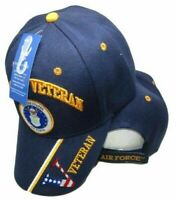 "US Air Force Veteran ""V"" Hat Navy Blue Vet Emblem Embroidered Cap"