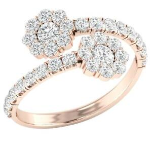 Forever Us 2 Stone Solitaire Wdding Ring Round Diamond SI1 G 1.75 Ct Rose Gold