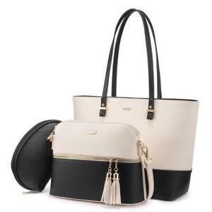 Beige & Black Leather Handbag for Women Hobo Shoulder Bag Large Ladies Purse Set
