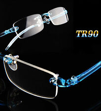 Ultralight TR90 Flexible Elastic Eyeglass Frames Glasses Blue Eyewear Rimless