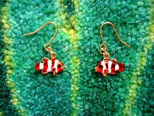 White Clown Fish Pierced Earrings Andrew Hamilton Crawford Metallic Orange &