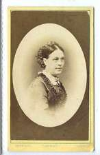 (Ll380-375) Real Victorian CDV Photo of Lady in Crinoline with Plaited Hair