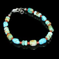 Sterling Silver Blue Green Turquoise Coral Bracelet