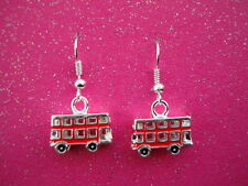 FUNKY SILVER RED LONDON BUS EARRINGS VINTAGE STYLE SOUVENIR GIFT RETRO KITSCH UK