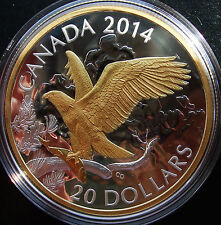 2014 Canada 1 oz Fine Silver $20 Coin Gold Accents: Perched Bald Eagle